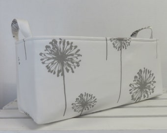 Long Diaper Caddy - Storage Container Basket Fabric Organizer Bin - Gray Dandelions on White Fabric