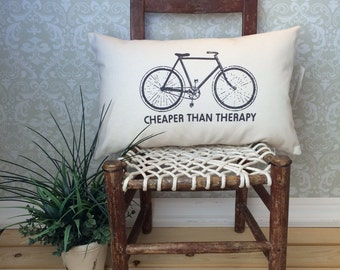 Bicycle Pillow, Bike Pillow, Bicycle Gifts, Bicycle Throw Pillow, Bike Decor, Cheaper than Therapy, Oblong Pillow Cover, Sofa Pillow