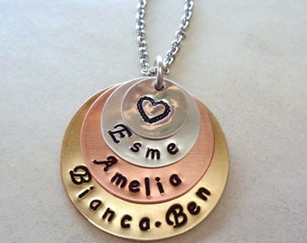 Personalized Mom Heart Necklace - Mother's Day Jewelry - Custom Names - Mixed Metals Necklace- Hand-Stamped Jewelry - Mom Gift -S115