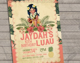 Vintage Luau Birthday Party Invitations , luau, Havana, beach, vintage, birthday party, baby shower, bridal shower, wedding party
