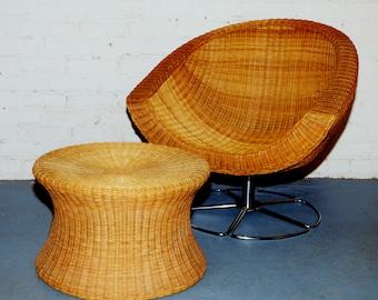 SOLD 1970's Wicker Coconut Swivel Chair w Chrome Base and Vintage Wicker Mushroom Stool