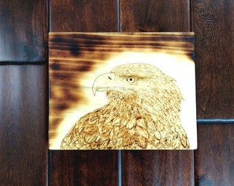 Bald Eagle wood burning/wall decor/patriotic art