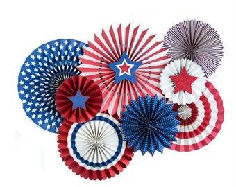 Patriotic Paper Pinwheel Fans | Red White and Blue 4th of July Paper Rosette Backdrop Labor Day Stars and Stripes Team USA Pinwheel Backdrop