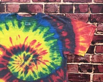 Vintage Tie Dye Shirt Blank Shirt Tiedye Blank Tee Hippie Shirt Tie Dye Blank Tshirt Mens Large 90s Style Blank T-shirt