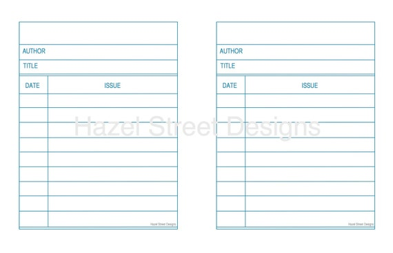 Library Card Template Digital File