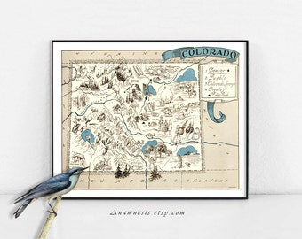 COLORADO MAP Print - Instant Digital Download - picture map for framing, totes, pillows & cards - fun vintage wall and wedding art