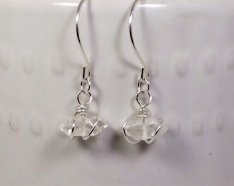 Herkimer Diamond Earrings Argentium Silver Wire and Hooks