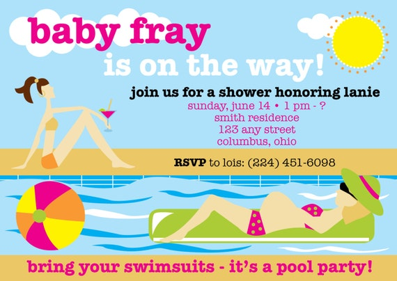 Pool party themed summertime 4x6 baby shower invitation filmwisefo