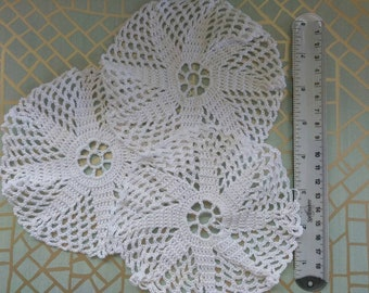Junk journal supply, set of three 5 1/2 inch, white cotton crochet doilies, dyable, great for many other craft projects or home decor