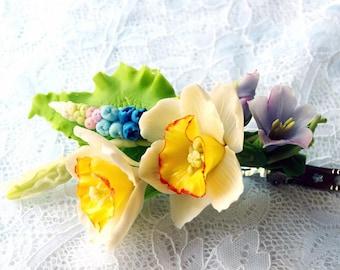 narcissus flower barrette, hair flowers barrettes