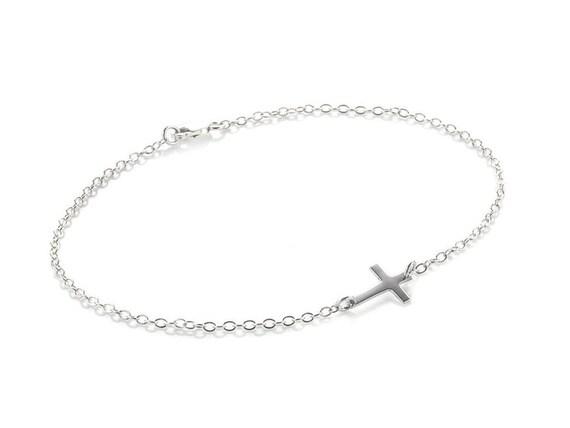 Sideways Cross Bracelet, Small Cross Bracelet, Christian Bracelet, Communion Gift, Dainty Bracelet, Cross Jewelry, Silver Cross Bracelet