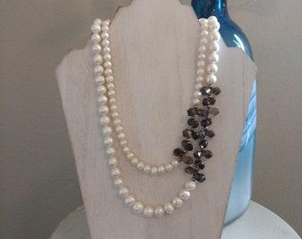 Double Stranded Pearl & Smokey Quartz Necklace