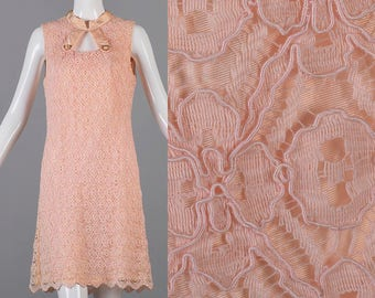 Large 1960s Dress 60s Dress Pink Lace Shift Dress A Line Keyhole Bust Lace Overlay Sleeveless Faded Damaged Costume Theater Woman Vinta