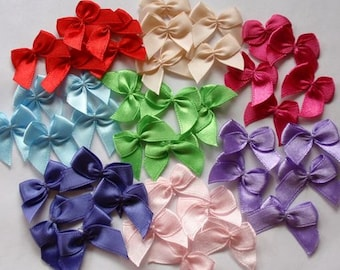 40 Handmade Bows (1 inch) In Multicolor  MY-044 -200 Ready To Ship
