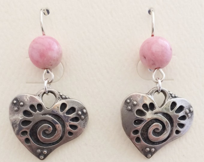 Rhodochrosite Beads with Sterling Silver Hearts