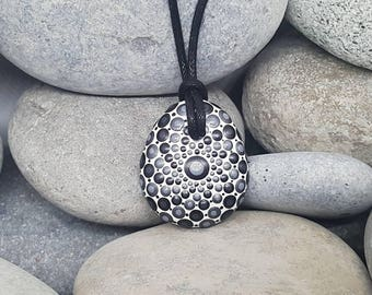 Black Painted Necklace - Paint Rock - Mandala Rock - Silver Pendant - Mandala Art - Hand-Painted Pendant Stone - Chakra - Metallic