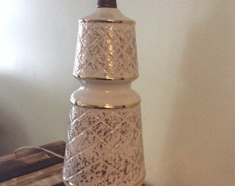 Vintage Ceramic and Wood Lamp/ Gold and White Lamp/Mid Century Modern Lamp