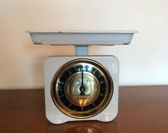 60s white kitchen scale / Krups / enameled / vintage / mid century  / gold