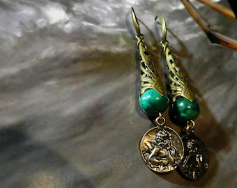 Malachite earrings.
