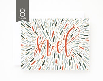 Christmas Card Set of 8 | Hand Illustrated Noel Holiday Card Set with Hand Lettered Calligraphy : Noel Christmas Cards