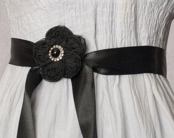 Black Flower Ribbon Sash
