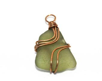 Sea Glass Wire Wrapped Pendant #187