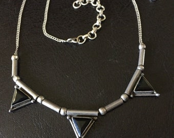 """Art Deco Triple Triangle Beveled Onyx Sterling Silver Necklace 18"""""""
