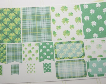 16 Planner Stickers Full Box Half Box Flags St. Patrick's Day Planner Stickers eclp Made to fit Erin Condren Planners PS369