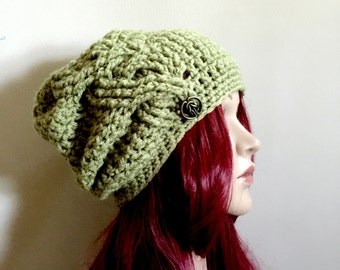 Celtic Braid -  Winter Beanie with Deep Crown - Braided Texture and a Celtic Design Brass Button - Women Girls Teen - Ready to Ship