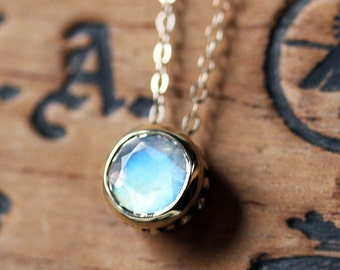 Rose gold moonstone necklace, rainbow moonstone necklace, bezel necklace, rose gold necklace, luxury jewelry, fine jewelry necklace, wrought