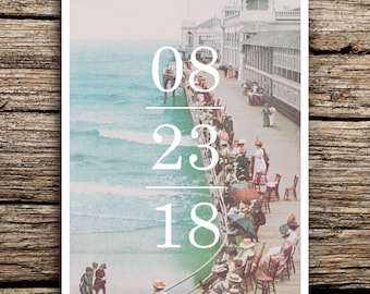 On the Boardwalk Save the Date Postcard //  Atlantic City Save the Dates Minimalist Vintage New Jersey 1920s Beach Ocean Nautical