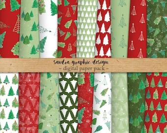 "Christmas digital paper: ""CHRISTMAS TREE"" Christmas paper, Christmas pattern, red and green, digital Christmas paper (1267)"