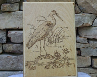 Great Blue Heron Woodburning Pyrography