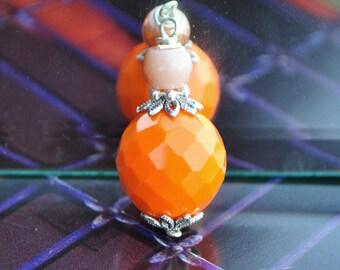 Small bottle pendant ball facet Bohemian Tangerine