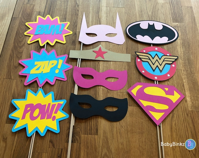 Photo Props: The Female Super Hero Set (10 Pieces) - party wedding birthday justice league wonderwoman girl batgirl supergirl centerpiece