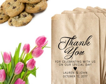 Thank You Wedding Stamp - Formal Wedding Favor Tags For Guests - Thank You For Celebrating With Us - Cookie Favor Bag Calligraphy Heart