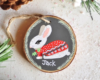 Bunny Ornament, Baby Boy First Christmas, Custom Name Ornament, Personalized kid Gift, Hand Painted Ornament, Rabbit Ornament, Baby Keepsake