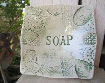 Green Leaves Soap Ceramic Dish Kitchen Bathroom Decor