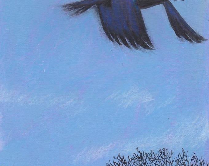 Windswept  raven greeting card