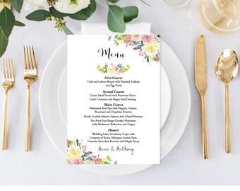 Rustic Floral Wedding Food Menu, Fall Flowers Wedding Menu Template, 5x7 Menu Printable, Floral Menu Card, Printable PDF Instant Download F4
