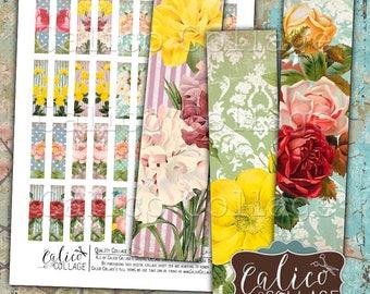 Flower Ephemera, Matchstick Size, 12x50mm, Digital, Collage Sheet, Vintage Flowers, Shabby Chic, Images for Earrings, Art Strips