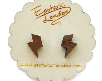 Small Wooden Lightning Stud Earrings/ Wood Studs/ Cute Earrings/ Laser Cut/ Gift for Her/ Hypoallergenic Earrings