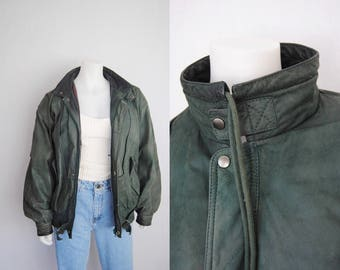 80s green leather jacket -- vintage leather bomber, oversized, funnel neck, forest green, hunter green, grunge, 1980s 1990s