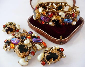 Florenza watermelon AB stones jewelry set | vintage bracelet brooch pin clip earrings | fantasy art stones | very rare | designer signed