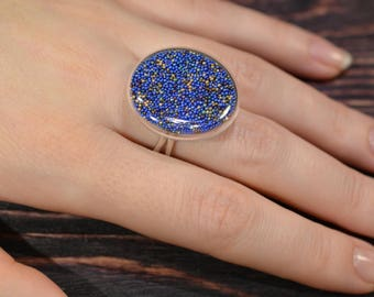 Glass ring / lampwork ring / adjustable ring / blue ring / murano glass / silver 925