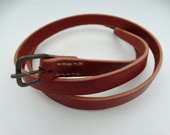 Leather belt with forged buckle