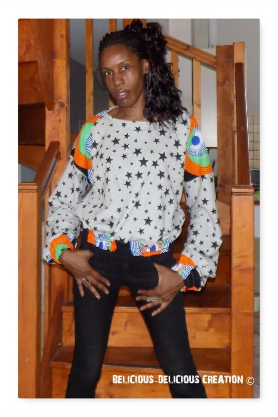 Original Sweat Top! WAXSTAR! Black gray cotton printed stars and size African fabric. 40 belicious-delicious-creation