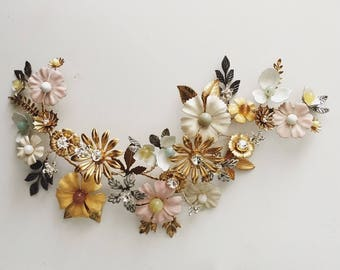 Wildflower hair vine, #1500, ceramic and brass