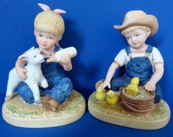 """Vintage Denim Days Figurine """"New Beginnings""""- Danny & Debbie - HOMCO # 1500"""
