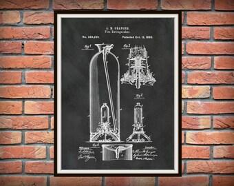 Patent 1880 Fire Extinguisher - Art Print - Poster - Wall Art - Fire House Wall Art - Fire Fighter - Fireman Art - Man Cave Wall Art
